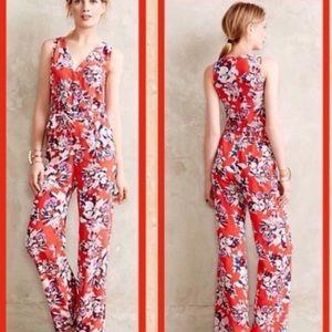Anthropologie Yumi Kim silk floral jumpsuit XS